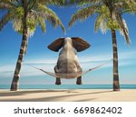 Stock photo an elephant sitting in a hammock on the beach and look at sea this is a d render illustration 669862402