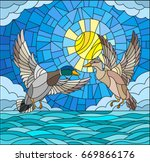 illustration in stained glass... | Shutterstock .eps vector #669866176