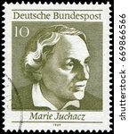 Small photo of Berlin, Germany - Aug. 11, 1696: Marie Juchacz (1879-1956), famous German social reformer. Stamp issued by German Post in 1969.