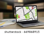 gps map to route destination... | Shutterstock . vector #669868915