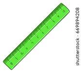vector cartoon green ruler on... | Shutterstock .eps vector #669894208