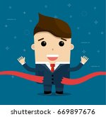 businessman red ribbon winner... | Shutterstock .eps vector #669897676