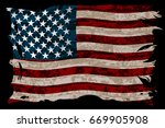 american striped flag on a... | Shutterstock .eps vector #669905908