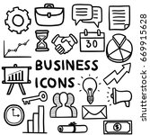 business icons in doodle style | Shutterstock .eps vector #669915628