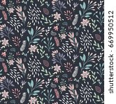 dark floral print with flowers... | Shutterstock .eps vector #669950512