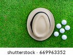 golf concept   panama hat  golf ... | Shutterstock . vector #669963352