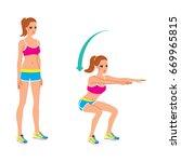 beautiful young woman doing... | Shutterstock .eps vector #669965815