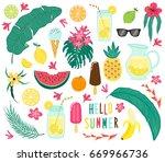cute set of hand drawn summer... | Shutterstock . vector #669966736