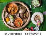 khantok is a pedestal tray used ... | Shutterstock . vector #669969046