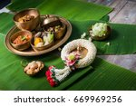 khantok is a pedestal tray used ... | Shutterstock . vector #669969256