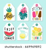 cute set of hand drawn summer... | Shutterstock .eps vector #669969892