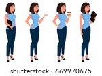 business woman in office dress... | Shutterstock .eps vector #669970675