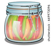 transparent glass jar with lid... | Shutterstock .eps vector #669973096