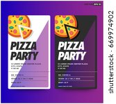 pizza party invitation template ... | Shutterstock .eps vector #669974902