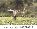 happy indian farmer standing... | Shutterstock . vector #669976912
