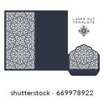 vector wedding card laser cut... | Shutterstock .eps vector #669978922