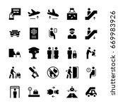 airport icons set in flat style....   Shutterstock . vector #669983926