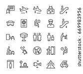 airport icons in thin line...   Shutterstock . vector #669983956