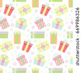 seamless pattern with gift...   Shutterstock . vector #669986326