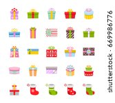 gift box and christmas socks... | Shutterstock . vector #669986776