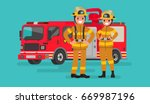 fire service workers man and... | Shutterstock .eps vector #669987196