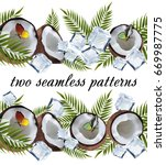 two seamless coconut pattern | Shutterstock .eps vector #669987775