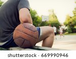 basketball ball and player with ... | Shutterstock . vector #669990946