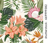 seamless pattern with tropica... | Shutterstock .eps vector #669999382