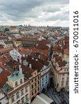 portrait view of rooftops... | Shutterstock . vector #670011016