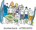 group of surfers vector... | Shutterstock .eps vector #670014352