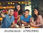 group of young people meeting... | Shutterstock . vector #670019842