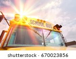 caution lights and windshield... | Shutterstock . vector #670023856