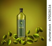 olive oil ad template. 3d... | Shutterstock .eps vector #670028116