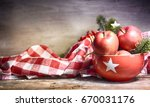 rustic christmas background... | Shutterstock . vector #670031176