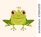 smiling frog in a crown. vector ... | Shutterstock .eps vector #670041055