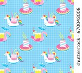 seamless pattern with summer... | Shutterstock .eps vector #670043008