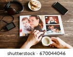 the hand man holding a family... | Shutterstock . vector #670044046