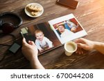 the hand man holding a family... | Shutterstock . vector #670044208