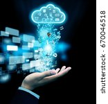 hand send data to cloud | Shutterstock . vector #670046518