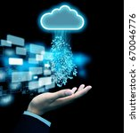 hand receive data from cloud | Shutterstock . vector #670046776