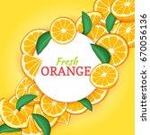 round white frame on citrus... | Shutterstock .eps vector #670056136