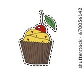 isolated cupcake in patch style. | Shutterstock .eps vector #670056142