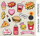Stock vector set of fashion patches cute colorful badges fun cartoon fast foods icons design vector 670059232