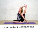 adult woman practicing yoga | Shutterstock . vector #670062232