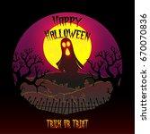 happy halloween with ghost.... | Shutterstock .eps vector #670070836