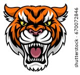 an angry looking tiger mascot... | Shutterstock . vector #670072846