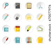stationery symbols icons set in ... | Shutterstock . vector #670077976