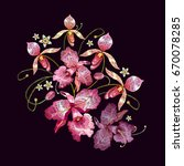orchids embroidery. beautiful... | Shutterstock .eps vector #670078285