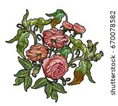 embroidery wild rose isolated... | Shutterstock .eps vector #670078582
