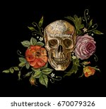 Embroidery Skull And Roses. Di...